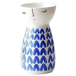 Silk Flower Arrangements Senliart White Ceramic Vase, Small Flower Vases for Home Décor, 5.9 X 3.2 (Heart)
