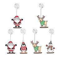 NUOBESTY 6Pcs場所カードホルダークリスマスかわいい人形テーブル番号スタンド木製名フォトクリップホルダークリスマスホリデーパーティーの装飾ランダム