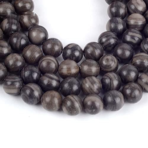 YELVQI Borla Guellas de Madera Negras Naturales Redondeadas con Cuentas Sueltas para la joyería Que fabrican Perlas espaciadoras de 4-10 mm Ajuste de la Pulsera de Bricolaje Accesorio para Collar 15'