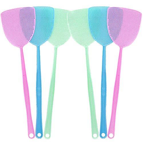 ExeQianming Fliegenklatsche, 6er Pack Kunststoff Fliegenklatsche Insekt Mückenwespe, Blau, Grün und Lila