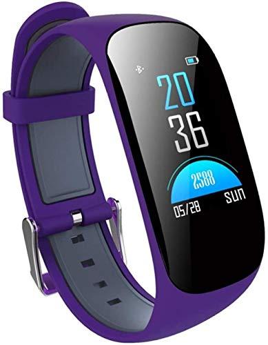 Pulsera de actividad física con monitor de frecuencia cardíaca, resistente al agua, inteligente, contador de pasos, contador de calorías, podómetro, reloj para niños, mujeres y hombres, morado