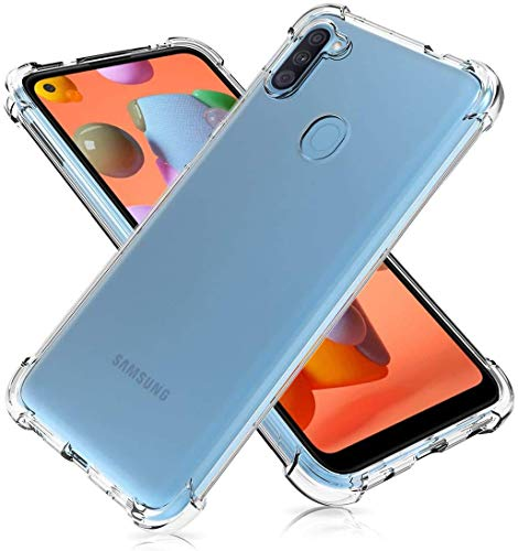 NISHTECH Flexible Shockproof Crystal Clear TPU Soft Back Cover Case with Cushioned Edges for Ultimate Protection for Samsung Galaxy M11 (2020)