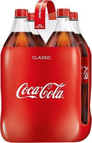 Coca-Cola Classic / Pure Erfrischung mit unverwechselbarem Cola Geschmack in stylischem Kultdesign / 4 x 1,5 Liter Einweg Flasche