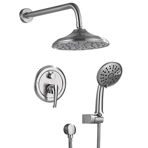 Shower System, Wall Mounted Shower Faucet Set for Bathroom with High Pressure 8' Rain Shower head and 3-Setting Handheld Shower Head, Brushed Nickel (Rough in Pressure Balance Valve Included)