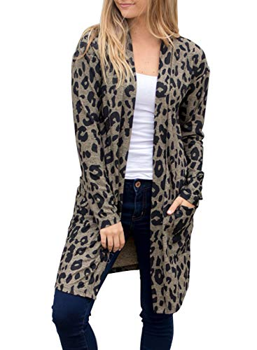 CORAFRITZ Damen Fashion Casual Weich Langarm Leopard Muster Print Longline Cardigan Gr. XL, leopard