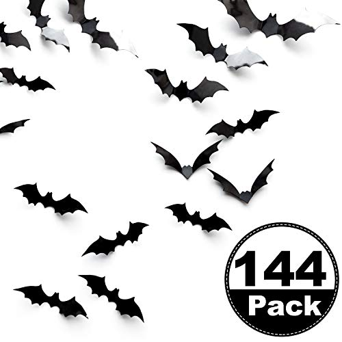 Boao 144 Pieces Halloween Scary Plastic 3D Bats Wall Decals Stickers, DIY Halloween Party Supplies PVC 3D Decorative Scary Black Bats, Window Decor Party Supplies Decoration