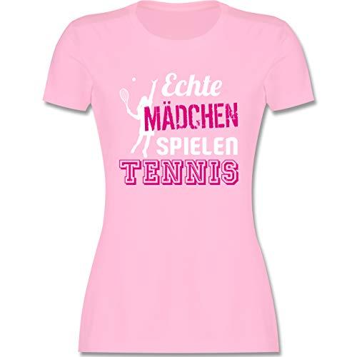 Tennis - Echte Mädchen Spielen Tennis - M - Rosa - Shirt echte mädchen Spielen Tennis - L191 - Tailliertes Tshirt für Damen und Frauen T-Shirt