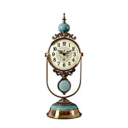 QERNTPEY Shelf Clocks Classic Decorative Pendulum Clock Mantel Clock Bedroom Clock Living Room Desktop (Color : Blue, Size : 16cm)