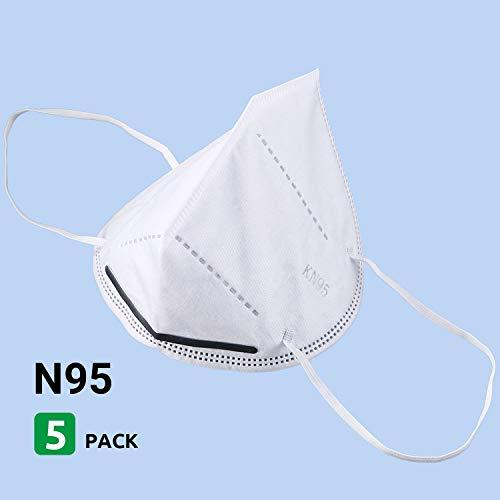 FENBO EU Máscara FENBO EU KN95, Paquete de 5, respirador FFP2, 95{07bd246006a87205034a071c04d98ad4ecd4e30d1c0e1becd1699e7b7636cc6c} de Filtro Efectivo
