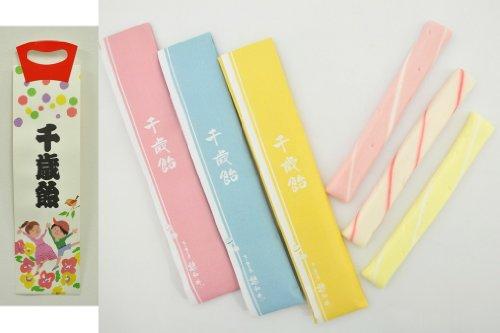 千歳飴 3本入(赤・白・黄) のし袋・手提げ袋付(オリジナルタイプ)