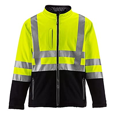 RefrigiWear Men's Hivis Insulated Softshell Jacket - ANSI Class 2 High Visibility with Reflective Tape (Black/Orange, Large) by RefrigiWear