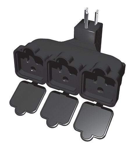 Stanley 31110 PlugMax Outdoor Grounded 3-Outlet Covered Adapter, Black