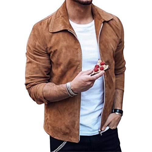 Doufan Fashion Heren Suede Leren Jas Slim Fit Biker Motorjas Jas Rits Outwear Homme Streetwear