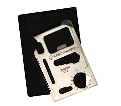 Ultimate Arms Gear 11-in-1 Multi Functional Purpose 11 Function Credit Card Size Stainless Steel Outdoor Survival Pocket Tactical Tool with Carrying Pouch Case Includes: Can Opener, Knife Edge, Screwdriver, Ruler, Cap Opener, 4 Position Wrench, Butterfly
