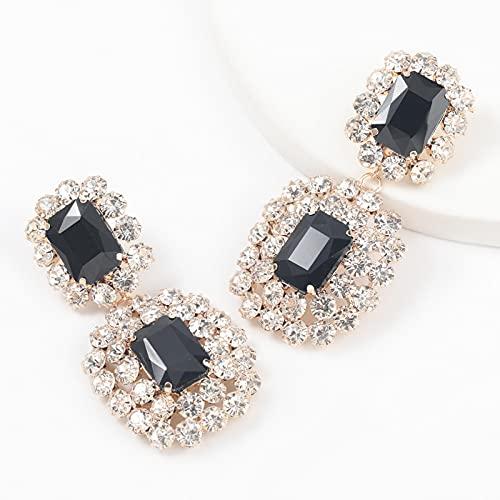 ZhenS Pendientes de Diamantes de imitación HuecosColgantes de Doble Cara Brillantes de ModaColgante Temperamentojoyería de mujer-eh13451ys