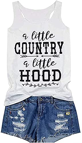 A Little Country A Little Hood Shirts for Women Graphic Tees Tops with Funny Sayings (White, XL)