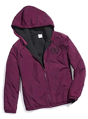 Victoria's Secret Pink Full Zip Logo Sherpa Lined Jacket Anorak Windbreaker Black Orchid Maroon XS/S