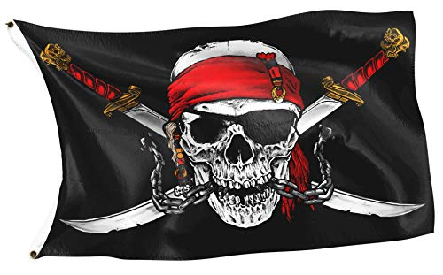 RAHMENLOS Original Piraten Flagge Karibik