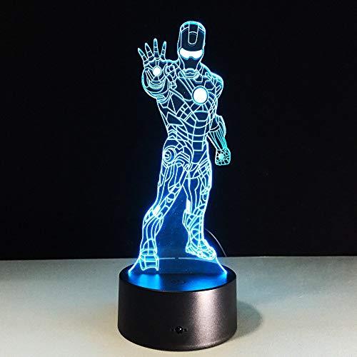 Super Hero Luz de noche 3D para niños, niñas, regalo, lámpara de ilusión 3D para dormitorio al lado de la mesa, lámpara de mesa de escritorio con 16 colores cambiantes, regalo para niños