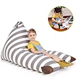 POKONBOY Stuffed Animal Storage Bean Bag, Bean Bag Cover for Organizing Kid's Room, Extra Large Stuffed Animal Storage Stuffed Many Animals Bean Bag Chairs for Kids - 100% Cotton Canvas Gray Stripe