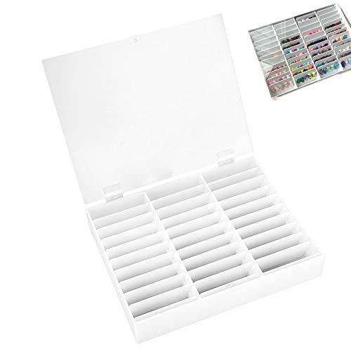 –Clavo Caja, 30compartimentos puntas Depósito vacías transparente perlas brillantes Almacenamiento Decoración 9.44X 7.48X 1.77inch