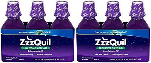 ZzzQuil YBGMVAUK Nighttime Sleep-Aid - Berry Flavor, 2 Pack of 3 (12 fl. Oz)