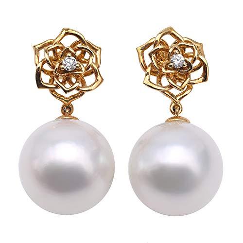 JYX - Orecchini pendenti in oro giallo 18 K AAA+15 mm, con perle coltivate in bianco naturale del mare del sud, per donne, anniversari, compleanni, regali della mamma