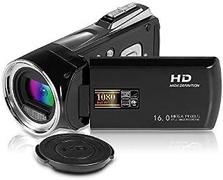ビデオカメラFuncam小型ビデオカメラ HD1080P1600万画素 8倍デジタルズーム2.7インチ液晶ディスプレイ270°回転スクリーンデジタルカメラポータブルビデオカメラ日本語説明書PDF(黑)
