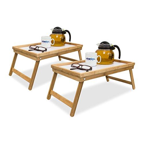 Relaxdays 2X Betttablett Bambus, Tabletttisch mit Füßen, Sofatisch mit klappbaren Beinen, H x B x T: ca. 23,5 x 63 x 31 cm, weiß