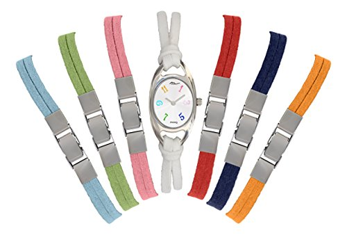 Moog Paris Enlacet Reloj para Mujer con Esfera Blanca, 7 Variedades de Correas de Nubuck - M41422-001