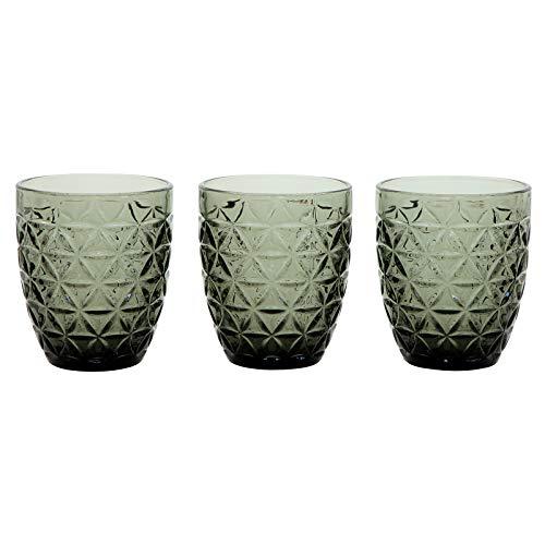 Casa Collection Set aus 3 Gläsern aus transparentem Glas, Serie Margot Aqua, Wein BIBITA 300 ml grau