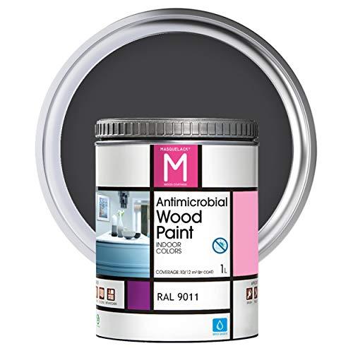 Pintura para Madera | 1 L | Pintura Interior RAL 9011 | Laca para Madera Antimicrobios | Protege y Embellece la Madera de los Muebles | Aspecto Cálido y Satinado | Color Negrografito