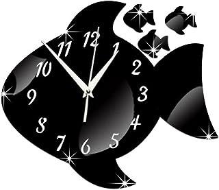 ساعة داخلي سهلة قراءة كوارتز الأسماك أطفال ساعة الحائط صامتة غير تداعج تخبر الوقت تدريس ساعة شيك شنقا الساعات التعليم البص...