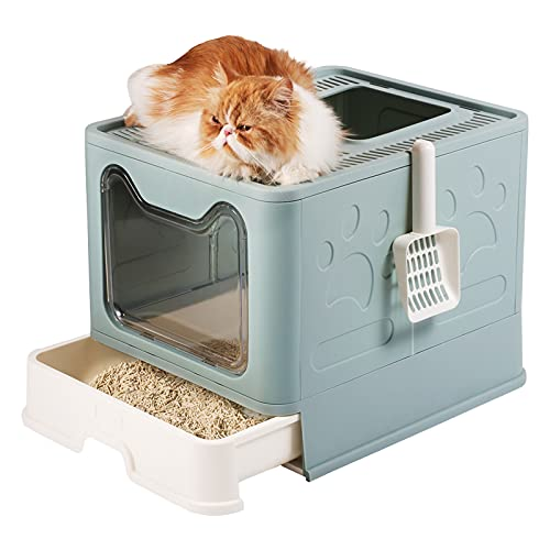 Cat Litter Box, MOERUN Covered Litter Box with Lid, Litter Scoop,Drawer, Foldable Enclosed Large Kitty Litter Box ,Top and Front Door for Entry and Exit, Anti-Splashing,Easy Clean Cat Box(Blue)