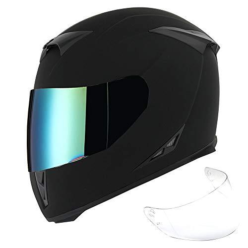 1Storm Motorcycle Full Face Helmet Skull King Matt Black + One Extra Clear Shield, Size Medium (55-56 cm,21.7/22.0 Inch)