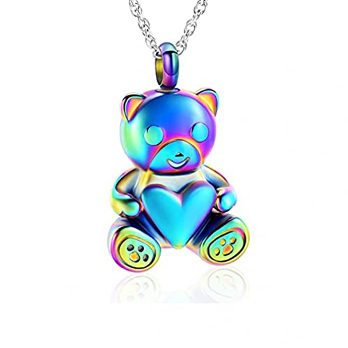 CMLYGTXD Cremains Jewelry Cremation Necklace for Ashes Pendant Trendy Bear Shape Holds Ashes Jewelry for Women/Men