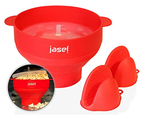 Lowest Prices! Jasel Microwave Popcorn Popper Comes with Heat-Resistant Pinch Mitts, Popcorn Hot Air...
