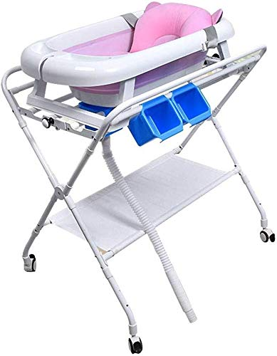 Multifunctionele wieg Commode met Portable Baby Shower, grijs Diaper opslag Rack On Wheels for Infant Toddler Baby verzorgingstafel