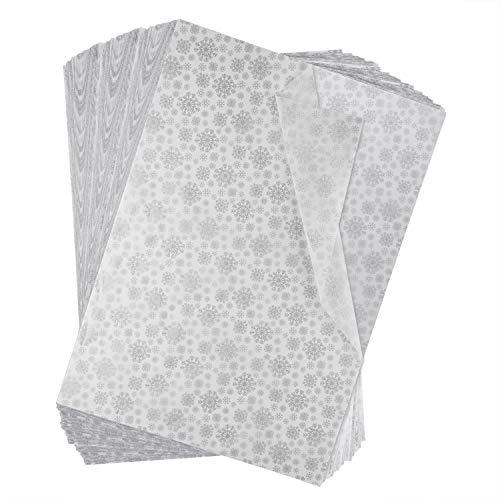 Miahart 60 feuilles de papier de soie de Noël 50x 35cm Papier d'emballage de Noël pour bricolage, loisirs créatifs, sacs-cadeaux, décorations