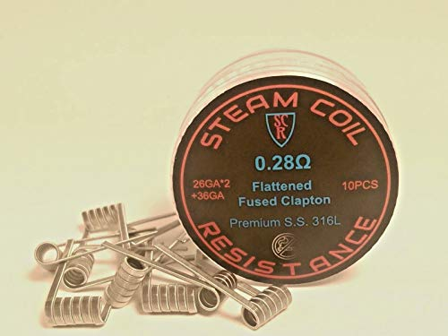 (10) Premium 2-CORE SS Flattened Fused Clapton Coils-316L SS - 26g(2),36g .28Ohms