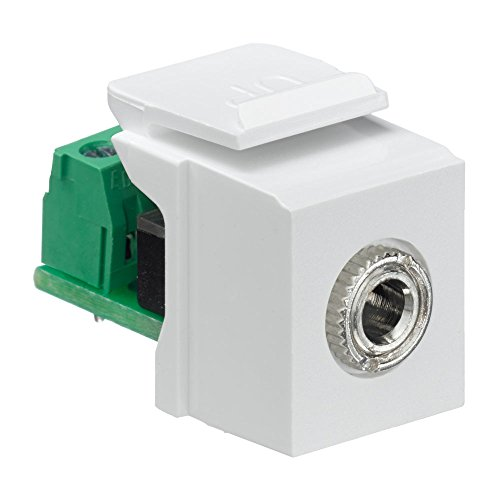 Leviton 40839-SWS QuickPort Snap-In Module with 3.5Mmm Stereo Jack, Female To Screw Terminal, White