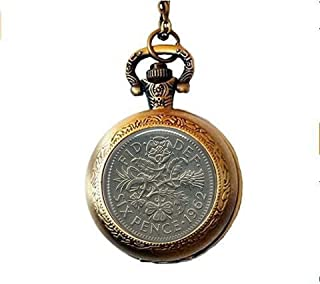 Vintage UK Sixpence Coin Image 1962 - Sixpence Necklace - Six Pence Pocket Watch Necklace