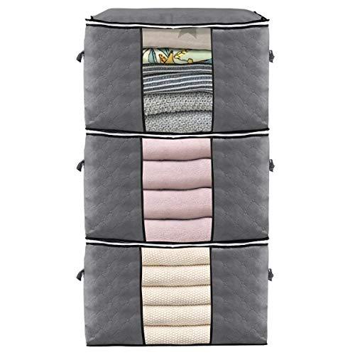 KINGSO 3pack Aufbewahrungstasche Kleidung Faltbar Kleideraufbewahrung Dickes Stoff mit Reißverschluss und Tragegriff für Decken, Kopfkissen, Bettzeug, Gartenauflagen, Grau, 60 x 40 x 35 cm