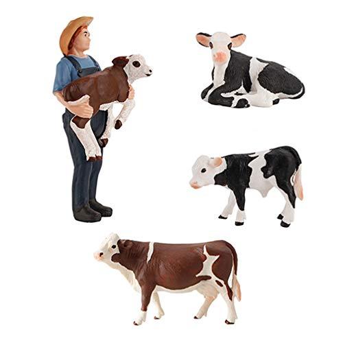 TOYANDONA 4 Stücke Bauernhof Figuren Kuh Figur Spielfiguren Tiere Menschen Cowboy Bauernhoftiere Spielzeug Kuchendeko Tierfiguren Tortenfigur Miniatur Garten Deko für Kinder Geschenk Büro