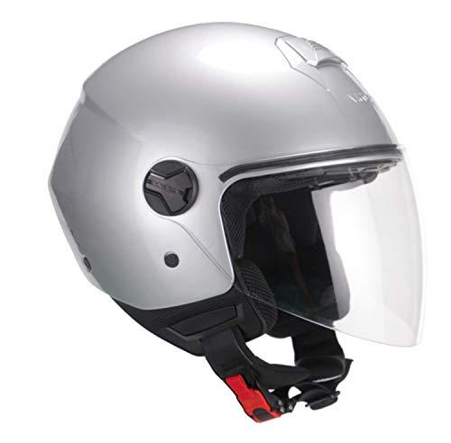 CGM Helm Demi Jet Florence Mono, braun satiniert, lang M (57-58 cm) silber/schwarz