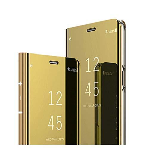 Hülle für Huawei Mate 7 Handyhüllen Flip Handy Case Cover mit Standfunktion Business Serie Hülle Hart Case Cover Faltbare Standfunktion,Bumper Stoßfeste Schutzhülle für Huawei Mate 7 (Gold)