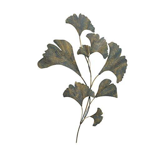 CasaJame 3D Wanddeko Metall, Wandobjekt Goldgrau, Dekoration Ginkgo, Wandskulptur Blätter Länge 5 cm; Breite 67 cm Höhe 95 cm
