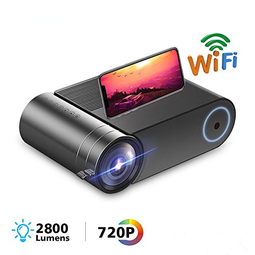 Elikliv Yg550 Home Projector 1280X720p Wifi Led Mini Projector Draagbaar Multi-Scherm Ondersteunend Apple Android Mobiele Telefoon Pc Laptop Computer Tablet Home Theater Projector Film Video Stereogeluid 2800 Lumen