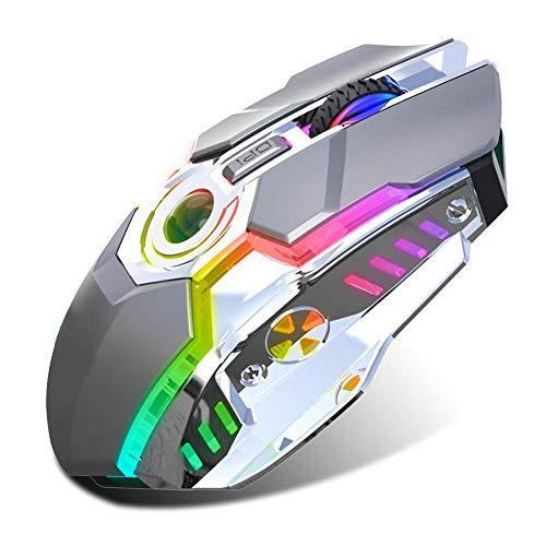 Mouse inalámbrico, con luz RGB, microinterruptor mecánico, aceleración DPI de tres velocidades (gris hierro)