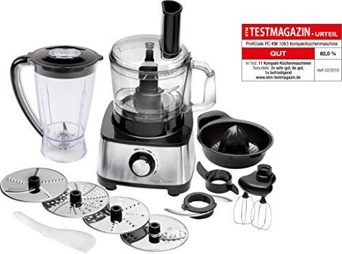 ProfiCook PC-KM 1063 Procesador de alimentos, 11 accesorios, 1200 W, 1.2 litros, Acero inoxidable, Plástico, Negro y gris